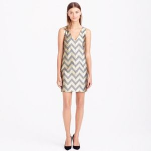 J. Crew Collection Gilded Chevron Shift Dress Gold